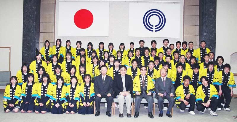 渡里唯舞(渡田中学校)と阿部市長
